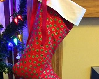 Christmas stocking, red stocking, christmas tree stocking, festive stocking, holiday stocking