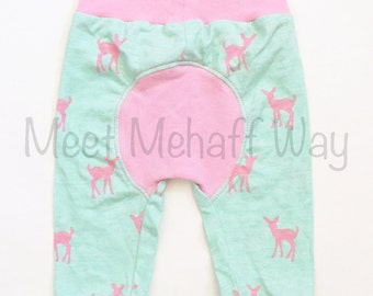 Oh Deer Joggers -- Bum Circle Pants -- Baby Pants -- Newborn to 18-24 Mo -- Cloth Diaper Pants