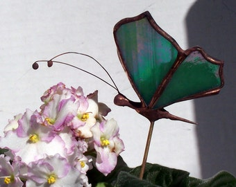 Small Iridescent Stained Glass Butterfly Plant Stake, Garden Art, Gift, Home Decor, Floral Support, Suncatcher