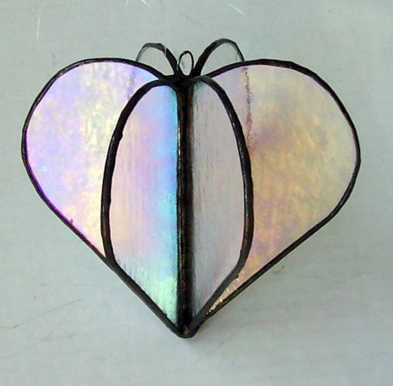 3-D Heart Suncatcher Clear Iridescent Glass, Valentine's Gift, Stained Glass Hanging Sun Catcher, Unisex Gift, Wedding or Engagement Gift