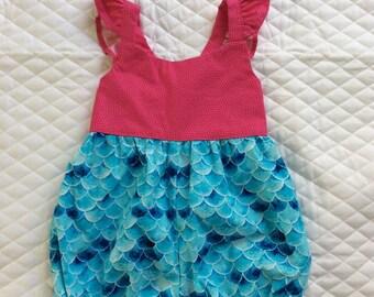 Babygirl mermaid romper,sun suit 12 m