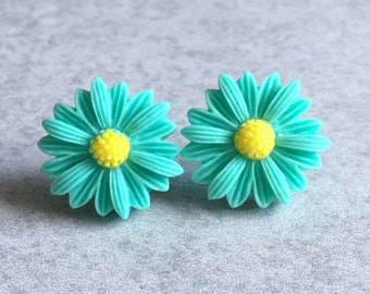 Teal Daisy Earrings - Silver Plated Stud Posts, 22mm Resin Roses, Green, Yellow Center, Daisies, Flowers, Spring, Bright, Bridesmaid Jewelry