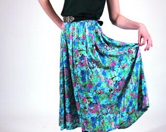 Floral maxi vintage skirt, pleated women skirt, women summer skirt, vintage skirt, maxi skirt boho, romantic skirt,,  M / 36 (GP83)