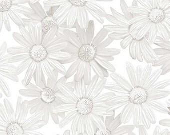 Benartex Fabrics White Out White DaisyTaupe/White