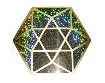 Cuboctahedron sparkle gold 2 colours