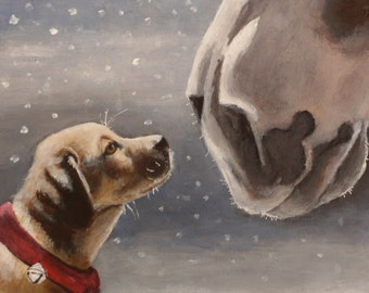 """Painted Portrait of Jake and Clyde' Holiday Size 6""""x 6"""""""