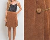70s skirt vintage SUEDE skirt leather knee length BOHO skirt SEVENTIES skirt high waist skirt cognac color caramel color 1970s skirt hippie