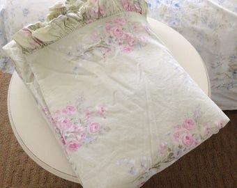Shabby chic blush beauty green bouquet king size duvet cover/ French country/farmhouse/bedding