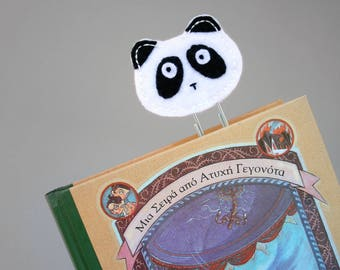 Paper clip bookmark, panda book mark, felt bookmark, gifts for booklovers, kids bookmarks, page marker, jumbo paper clips, planner clip