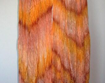 Hand Painted Pure Silk Shawl, Wrap - Orange, Tangerine