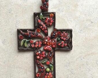 Bohemian Cross Pendant, copper
