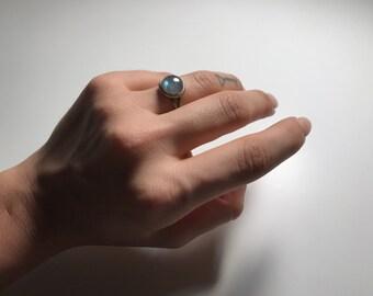 Labradorite - Adjustable Antiqued Brass Ring