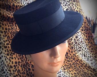 Vintage Hat 50's black felt  / chapeaux 1950, feutre noir