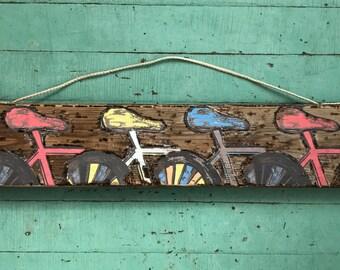 Pedal On - Wood Bike Art