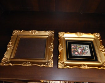 "Vintage Pair  Ornate Gold  Plastic Picture Frames 7"" X 6"""