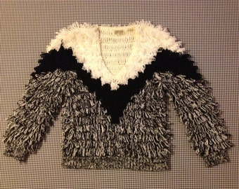 1970's, shag loop, sweater, in black and white, Women's size Small
