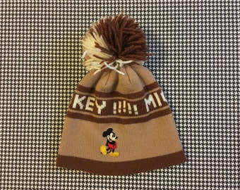 1990's, Mickey Mouse!!! pom pom, ski hat, in browns, Adult Size
