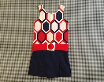 1960's, canvas, skort romper, in navy, red and white, Girls' size 12, Women's size XXS