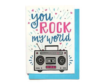 Love Card - Anniversary Card - You Rock My World - Boombox Card - Valentine card - Valentines Day Card - LV32
