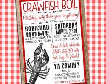 Crawfish Boil Custom Digital Invitation,Birthday,Wedding Shower,Red,White,Digital Printable,Low country Boil,Invitations & Announcements