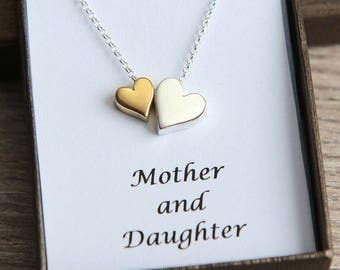 Mother Daughter Necklace, Mother Daughter Jewelry, Gold Silver Heart Necklace, Double Heart Necklace, Mother Daughter gift, Mothers Day Gift