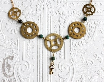 Steampunk Statement Necklace - Gear Necklace - with Vintage Brass Gold Clock Cogs, Gears, Key and African Turquoise