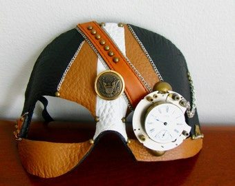 Steampunk Mask, Black and Butterscotch Leather, Clock Gears  - BoneShaker