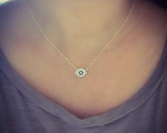 Evil Eye Necklace, Dainty charm necklace, Rose gold Evil Eye Jewelry, celebrity inspired jewelry, Lotus411