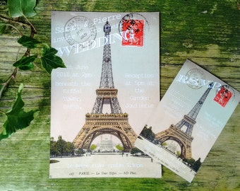 Eiffel tower postcard wedding invitations and Rsvps
