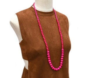 long hot pink beaded necklace / long hot pink bead necklace / dark pink beaded necklace / wood bead necklace / hot pink statement necklace