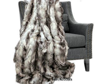 Plush  Faux Fur Throw Blanket,Black Gray Exotic Rabbit - Bedspread - Luxury Fur - White, Black, Gray Minky Cuddle Fur Lining Fur Accents USA