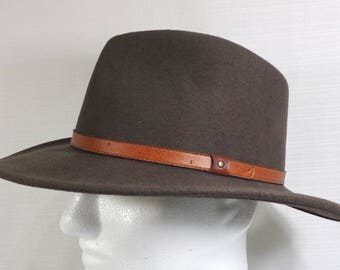 Flex Felt Vintage Fedora Hat - 100% Wool Felt - Felt Fedora Hat - Size Large L - Made in USA