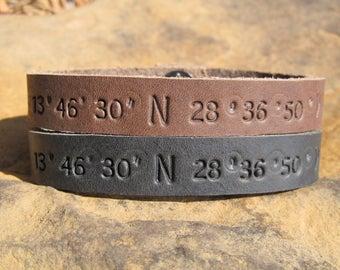 Custom Coordinates Set of 2 - Mens Womens Personalized Leather Bracelet Latitude Longitude GPS Coordinates Cuff Engraved Anniversary Gift