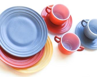 Hazel Atlas Mini Tea Set, 8 piece, Seirra Set, Vintage Children, Orange, Yellow, Grey, Cups