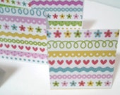 15 Mini Cards or Gift Tags, Hearts and Flowers, Handmade 2in x 2in Folded Gift Tags or Small Cards