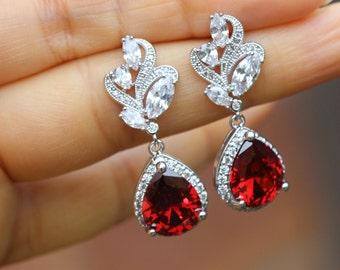 garnet red earrings garnet earring red bridal earring bridal jewelry wedding earrings bridesmaid earring