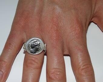 SR1795 AMAZING Vintage Artisan Solid Heavy Carved Roman Greek Warrior Gladiator Soldier Sterling Silver Mens Signet Ring US Size 9 UK R 3/4