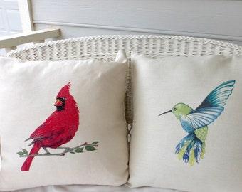Cardinal Pillow cover - Extra Large floor pillows - Accent pillow covers - pillow covers - Bird Pillows - 24x24 floor cushion cover