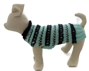 Dog sweater, Cat sweater,  hand knitted in mint green with Black Fair isle  - small dog sweater winter pet coat or dog jumper