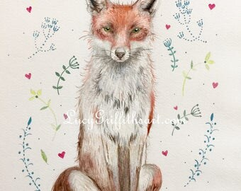 Fox and flowers giclee print by Lucy Griffiths from an original watercolour painting dated 2017.