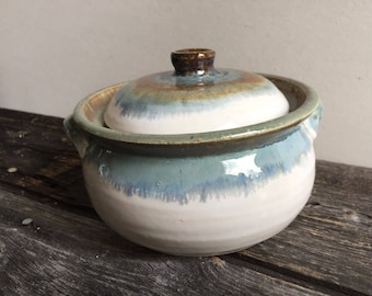 Sugar bowl with lid wheel thrown handmade pottery ceramic