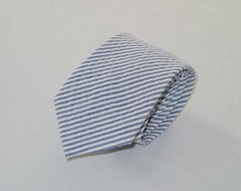 Blue Seersucker Tie