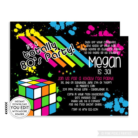 It's a Totally 80's Party Invitation - PDF Digital Download from Etsy