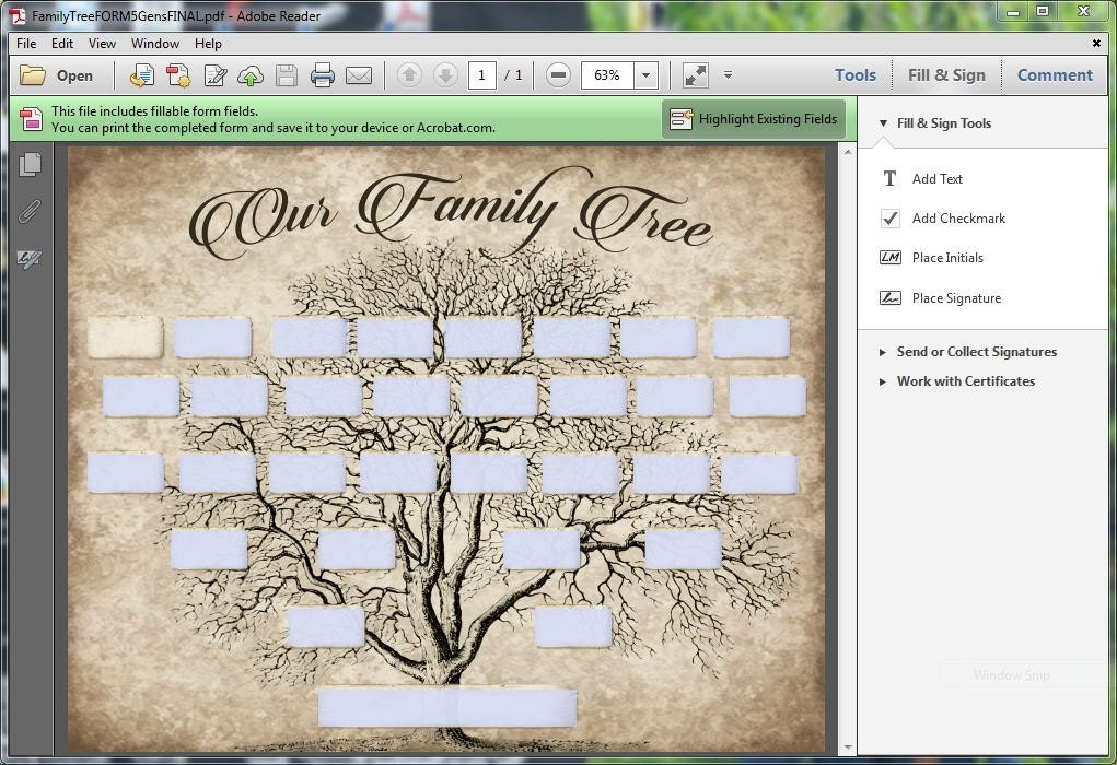 Custom family tree printable 5 generation template instant for Genealogy templates for family trees