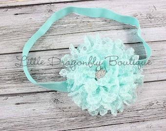 Aqua lace headband {blue headband, baby headband}