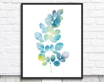 Watercolor Leaf, Leaf Print, Leaf Printable, Digital Print, Digital Download, Leaf Wall Art, Blue Leaf Print, Watercolor Print, Leaf Decor