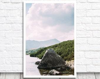 Lake Print, Lake Photo Print, Lake Photography, Mountain Lake, Printable Wall Art, Printable Photo, Digital Download, Nature Photograph