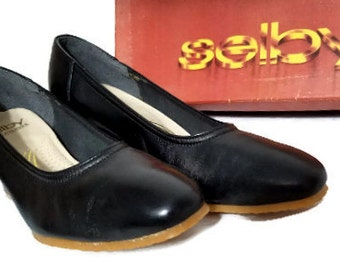 Vintage Black Selby Fifth Avenues New In Box Black Leather Pumps Size 7B