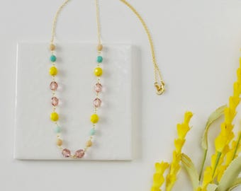 Pastel beaded necklace, single strand necklace, pink mint and yellow