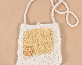 Hand Knit White and Gold Shoulder Bag - Milk and Honey